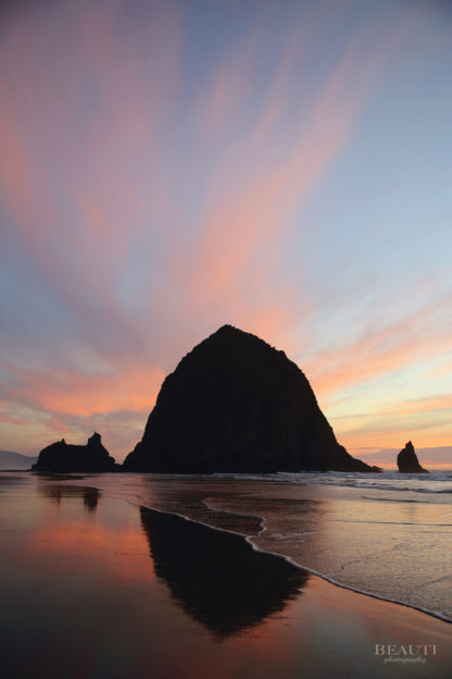 BEAUTI photography travel photographer Wall Art Haystack Rock Cannon Beach pink sunset Oregon