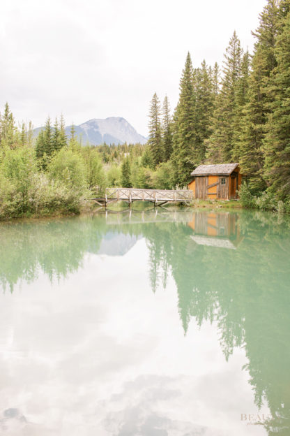 BEAUTI photography travel photographer Wall Art Kananaskis Alberta Rocky Mountains cabin reflection