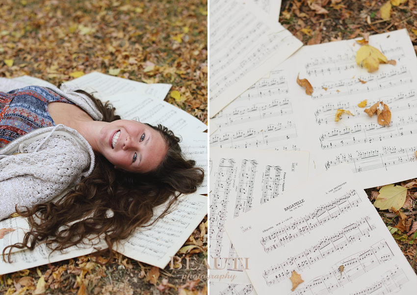 Weyburn SK portrait photographer, Weyburn graduation portraits, Saskatchewan portrait photographer, outdoor fall portraits, senior photos, Weyburn graduate, Weyburn SK casual grad photos, beautiful fall scenery, piano sheet music, vintage piano book photo