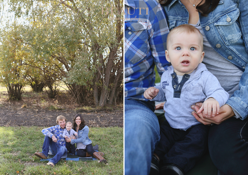 Weyburn family farm photography family lifestyle photographer outdoor portraits one year old fall trees photo