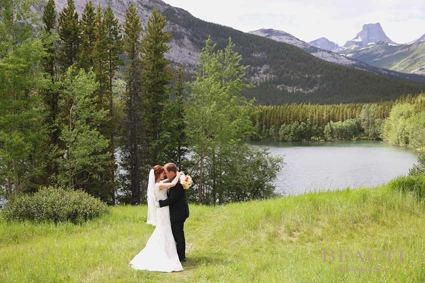 Kananaskis Alberta wedding photography outdoor wedding portraits Tribune Saskatchewan travel wedding photographer bride and groom photo