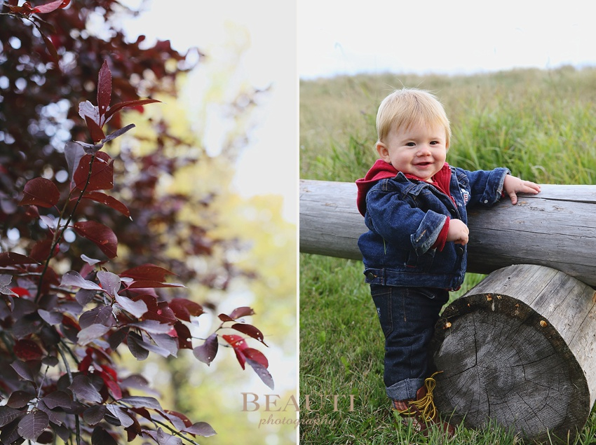Weyburn Saskatchewan lifestyle photographer 8 month old baby boy outdoor lifestyle child portraits fall leaves photo