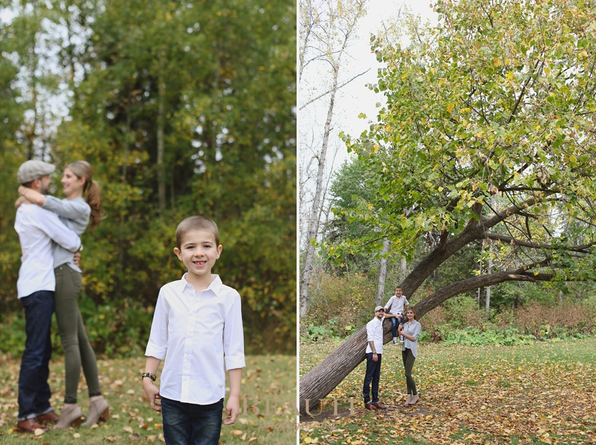 Edmonton family outdoors lifestyle photography Whitemud Park fall portraits travel portrait photographer family leaning tree photo