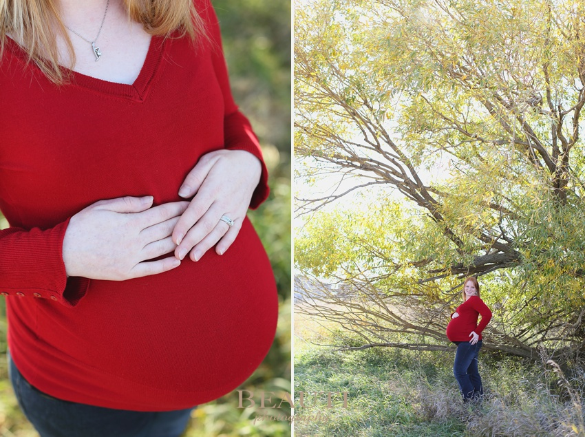 Tribune Saskatchewan lifestyle photographer outdoor maternity portrait photography fall leaves expectant mother photo