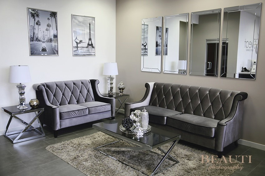 Las Vegas interior design project Breanna Megan Studio artist designer Sweat Body Lounge yoga studio sitting area elegant classy style photo