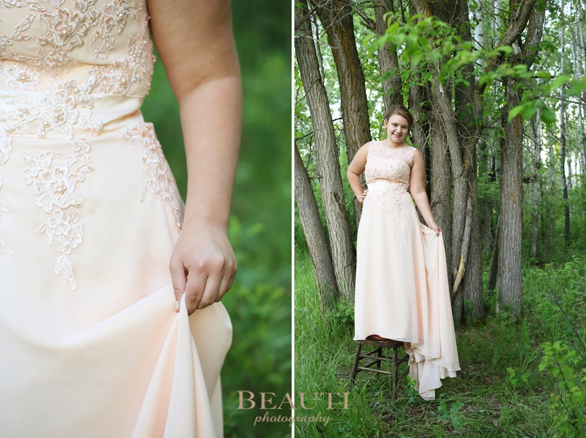 Weyburn graduation photographer WCS Grad 2015 graduate outdoor portraits Preeceville family cabin pink grad dress sunset session dress details photo