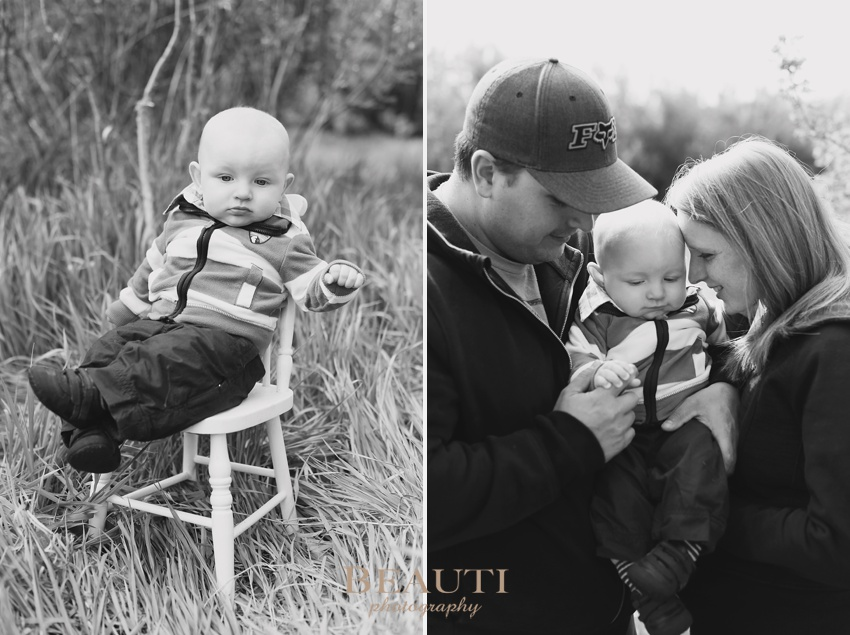 Tribune Saskatchewan family lifestyle portrait photographer outdoor lifestyle photography 6 month old baby boy family portraits baby sitting in chair spring photo