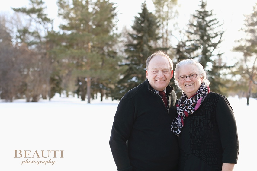 BEAUTI photography Tribune SK outdoor lifestyle photographer Regina couple photography outdoor winter 40th wedding anniversary Wascana Park Regina Saskatchewan happily married couple photo