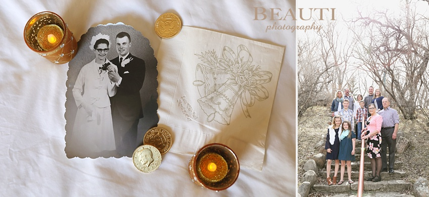 BEAUTI photography Moose Jaw family photographer 50th wedding anniversary family portraits outdoor brick buildings Crescent Park Moose Jaw photography couple portraits children cousins siblings wedding photo napkin photo