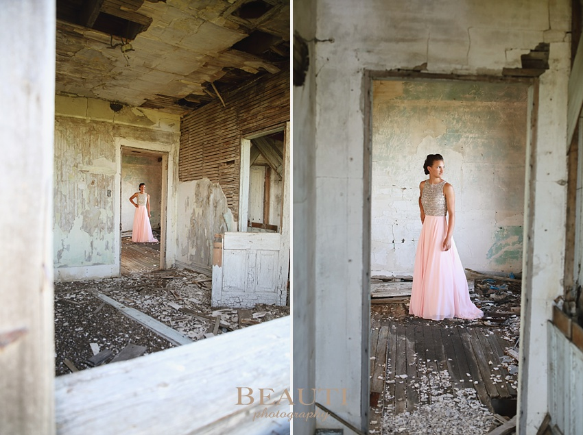 BEAUTI photography portrait photographer Binscarth Manitoba graduation photography high school graduate Class of 2017 graduate pink grad dress formal senior portraits abandoned house doorways photo