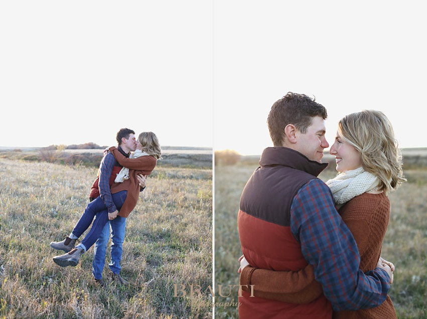 BEAUTI photography Tribune Saskatchewan portrait photographer engagement session Goodwater engagement shoot fall photography beautiful fall colors creek prairie grasses adorable couple Blundstone boots happy couple portraits fall photo