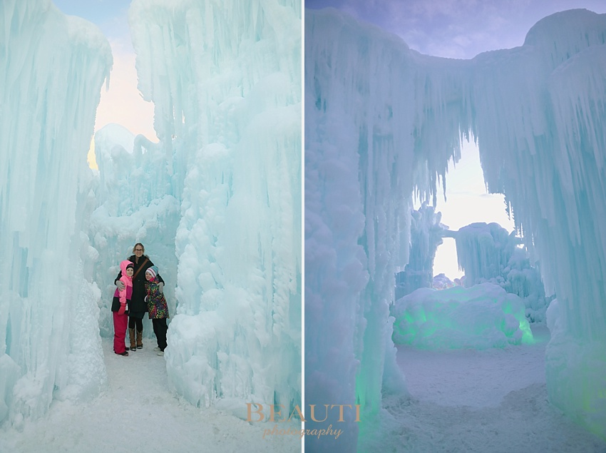 BEAUTI photography Tribune Saskatchewan outdoor natural light photographer Edmonton Ice Castles YEG attractions winter photography beautiful winter wonderland magical ice castle winter portrait icicles sunset photo