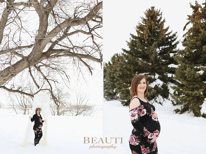 BEAUTI photography Tribune Saskatchewan lifestyle photographer outdoor maternity photography winter portraits snowy trees winter maternity session photo