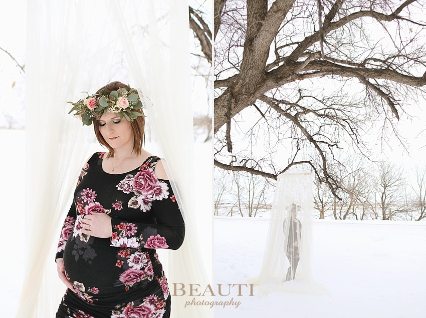 BEAUTI photography Tribune Saskatchewan lifestyle photographer outdoor maternity photography winter portraits snowy trees winter maternity session sheer canopy floral crown photo