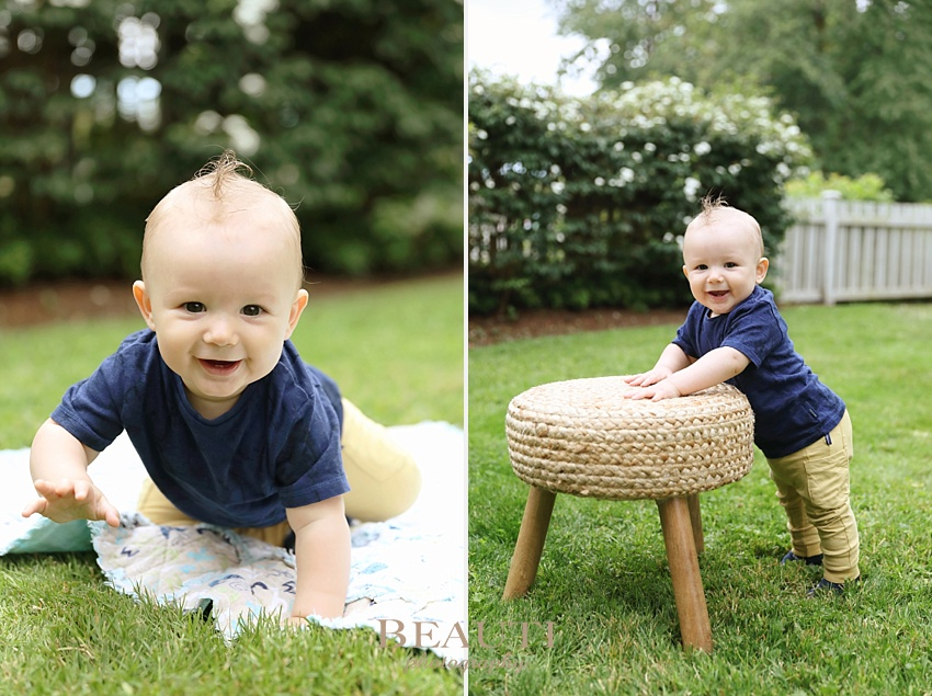 BEAUTI photography portrait photographer 7.5 months baby photographer Langley British Columbia happy boy crawling photo
