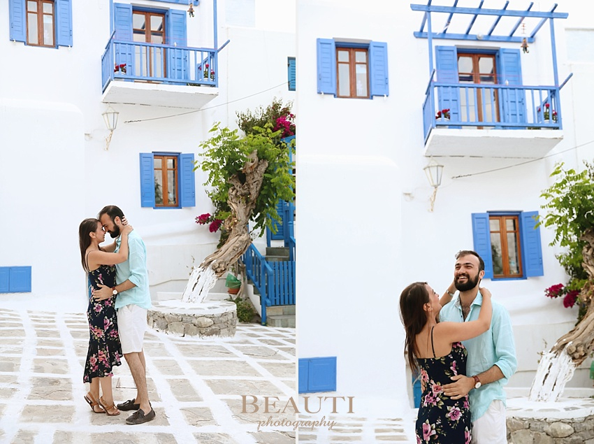 Mykonos Greece honeymoon destination photographer couple honeymooning sunset portraits streets of Mykonos lifestyle blue and white Greece photo