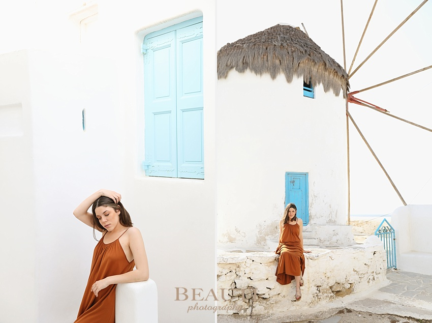 Mykonos, Greece travel photographer fashion photography Mykonos windmills blue and white beautiful young lady photo