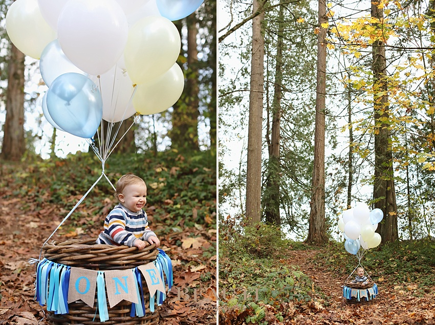 Langley family lifestyle photography BEAUTI photography one year photos happy baby hot air balloon theme photo