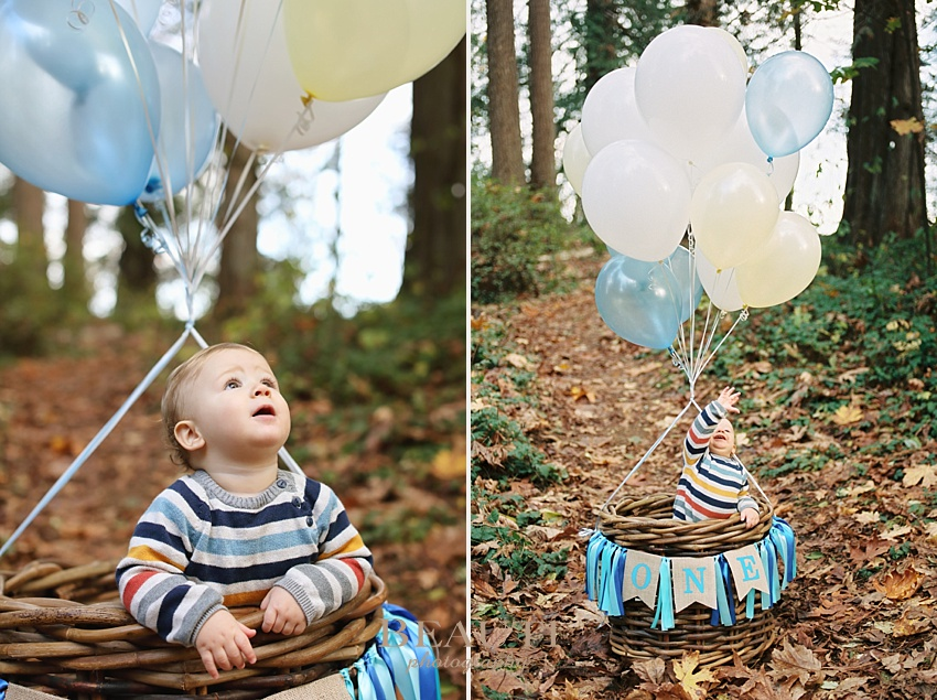 Langley family lifestyle photography BEAUTI photography one year photos happy baby hot air balloon photo