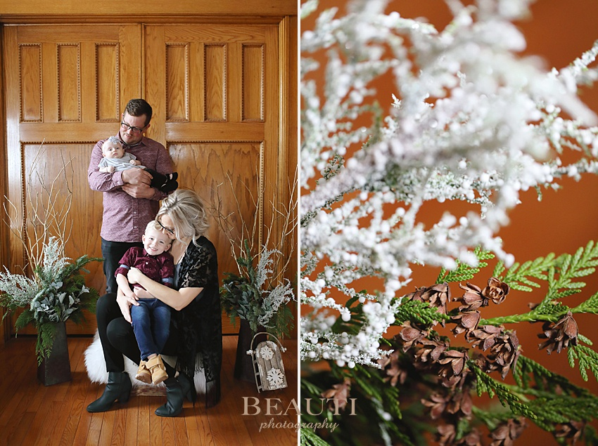 BEAUTI photography Weyburn family photographer holiday session winter greenery indoor family portraits photo