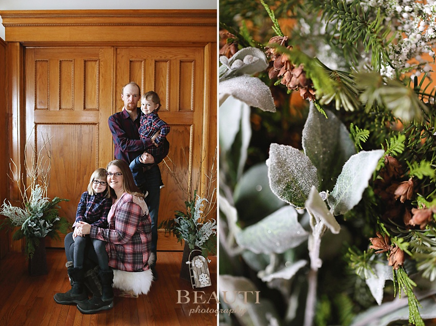 BEAUTI photography Weyburn family photographer holiday photo sessions winter greenery family portraits indoor photo