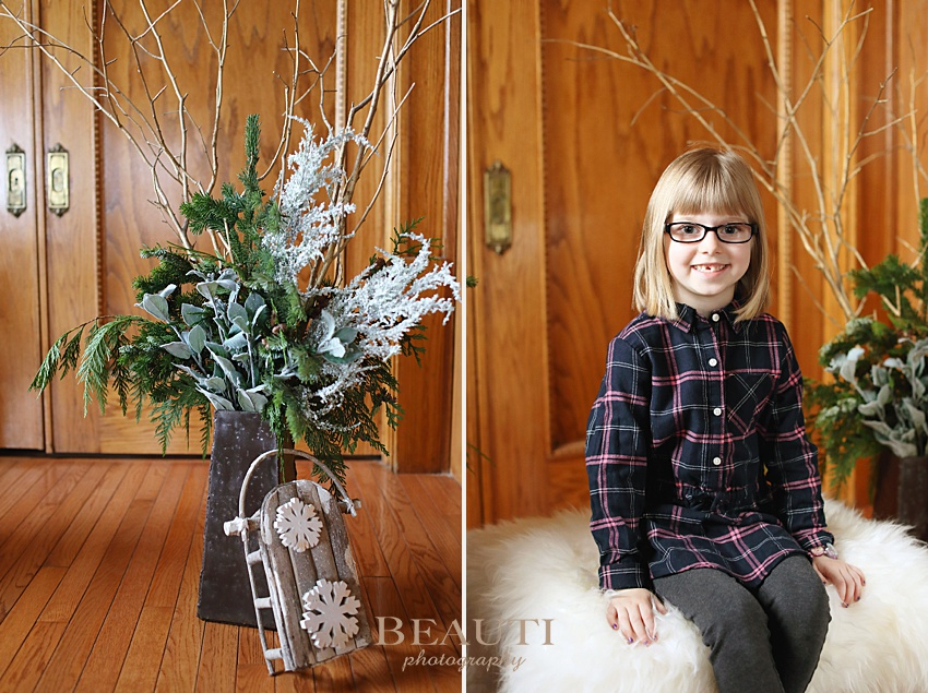 BEAUTI photography Weyburn family photographer holiday photo sessions winter greenery indoor family portraits photo