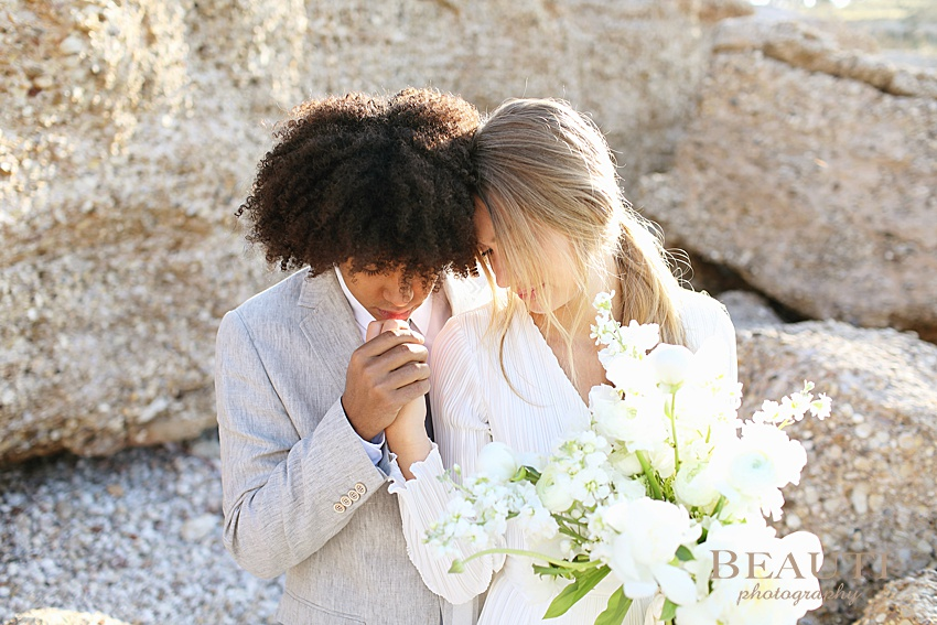 BEAUTI photography destination wedding photographer sunrise beach wedding Spetses Greece kisses photo